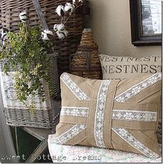 Dig that pillow- would be fun to do with cool ribbon...