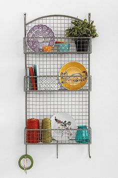 Industrial Cage Wall Shelf - like this idea for the kitchen