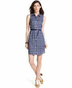 Tommy Hilfiger Dress, Sleeveless Printed A-Line Belted Shirtdress ...