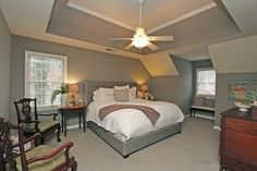 1890 North Creek Cir Alpharetta Traditional Home Master Bedroom with Grey Walls