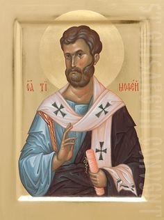 painted icon of holy apostle timothy