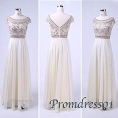 #promdress01 2015 prom dresses - creamy white round neck open back beaded chiffon long prom dress for teens,ball gown,evening dress