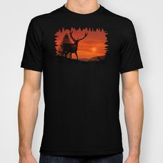 Deer on a hill T-shirt A red deer standing on a hill and watches the sundown  Cervus elaphus, animal, silhouettes, landscape, clouds, cloudy, sun, tree, larch, mountains,  orange, black, fauna, nature, evening, flock of birds, neo-mystical