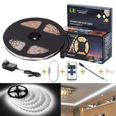 le 12v flexible led strip lights kit led tape 6000k daylight white 300