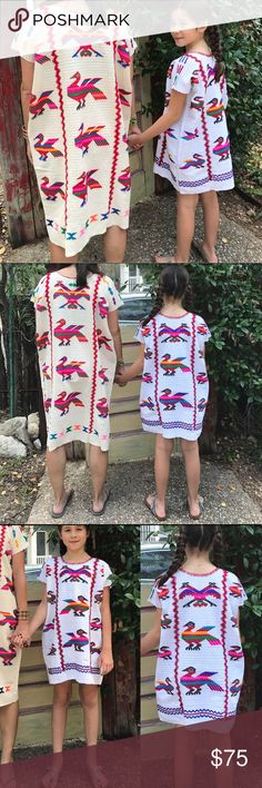 """Girls Shift Dress - Birds A true work of beauty! Hand embroidered in Mexico. No two alike and an item that can grow with your little one! Our model is 10 but fits a girl 6-10 comfortably. Women's Top and dress featured are also available, see listings. Choose from cream or white. Approximately 20.5"""" underarm to underarm and 26"""" L Costume Baldor Dresses Casual"""
