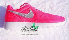 Swarovski Nike Girl   Women Pink Roshe Run Shoes blinged with SWAROVSKI® 616fe0e08e