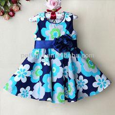 2014 nueva moda bebé niñas vestidos de colores celeste de niña vestido de flores…
