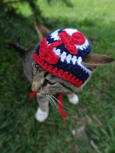 Nautical Cat Dog Hat  - The Sailor Cat's Beanie Hat for Cats and Small Dogs - Cat Dog Sailor Costume
