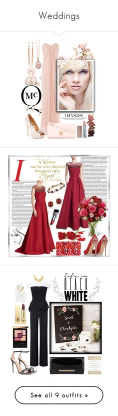 """""""Weddings"""" by ela79 ❤ liked on Polyvore featuring Alexander McQueen, Vince Camuto, Badgley Mischka, Maybelline, L.A. Girl, Effy Jewelry, Jacquie Aiche, Chanel, Pamella Roland and Judith Leiber"""