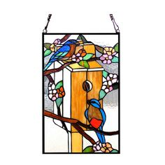 Chloe Lighting Tiffany Style Birdhouse With Birds Design Stained Glass Window Panel