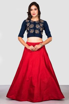 7d1d9743d938 Rent HOUSE OF OMBRE - Blue Embroidered Crop Top With Red Skirt Dupion Silk,  Blue