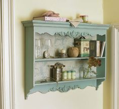 French Carved Wall Shelf. ndividual stylish piece full of character from every angle. The sturdy wooden wall shelf is finished in a gorgeous vintage pale blue colour of typically French ambiance and offers reliable and practical storage space as it weighs 12kgs. Dimensions: Height 70cm Width 90cm Depth 13cm. £184 dibor.co.uk