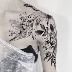 Hummingbird tattoo idea. Liking the flowers