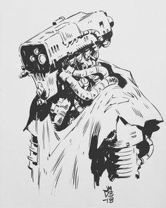 ArtStation - Robot, James Daly R Robot, Robots Characters, Robot Illustration, Creature Concept Art, Ink Pen Drawings, Cyberpunk, Robot Design, Anatomy Art, Futuristic