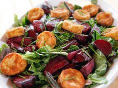 """Roasted Beet and Goat Cheese Salad (Kitchen Confessional: Four Seasons on the Ranch: Spring) - """"The Pioneer Woman"""", Ree Drummond on the Food Network. Fried Goat Cheese, Beet And Goat Cheese, The Pioneer Woman, Pioneer Woman Recipes, Pioneer Women, Giada De Laurentiis, Food Network Recipes, Cooking Recipes, Healthy Recipes"""