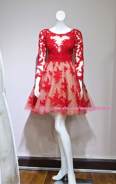 Red Long Sleeve Short Lace Wedding Dress Bride dresses Mini Prom Dresses Cocktail Dresses Real Sample
