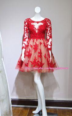 Red Long Sleeve Short Lace Wedding Dress Bride dresses Mini Prom Dresses Cocktail Dresses Real Sample
