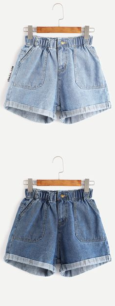 Blue Elastic Waist Rolled Hem Denim Shorts http://niffler-elm.tumblr.com/post/157400384471/ashton-kutcher-hairstyles-short-hairstyles-2017