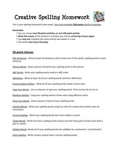 Great idea for practicing spelling for homework (page 2 available after the jump) Tales of a Fifth Grade Teacher