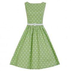 Lindy Bop AUDREY Pastelovo-zelené Šaty