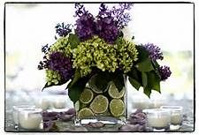 purple and lime green wedding centerpiece.