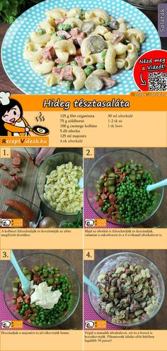 Nudelsalat The cold pasta salad with mayonnaise is a real classic that must not be missing at any barbecue party! The pasta salad with mayonnaise recipe video is easy to find using the QR code :] salad Rotini Pasta Recipes, Healthy Pasta Recipes, Healthy Pastas, Healthy Cooking, Cooking Recipes, Pie Recipes, Cold Pasta, Fresh Pasta, Winter Food