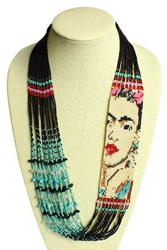 Details about Crystal Glass Beaded Frida Kahlo Hand Stranded Necklace Fine Art Jewelry, Drop Necklace, Strand Necklace, Collar Necklace, Skull Necklace, Gold Necklace, Loom Beading, Beading Patterns, Jewelry Art, Beaded Jewelry