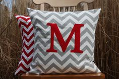Hey, I found this really awesome Etsy listing at http://www.etsy.com/listing/121085253/popular-grey-and-red-monogrammed-pillow