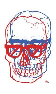 '3D Hipster Skull', pop art, illustration, graphic design, by Frederic Aladenise on Behance.