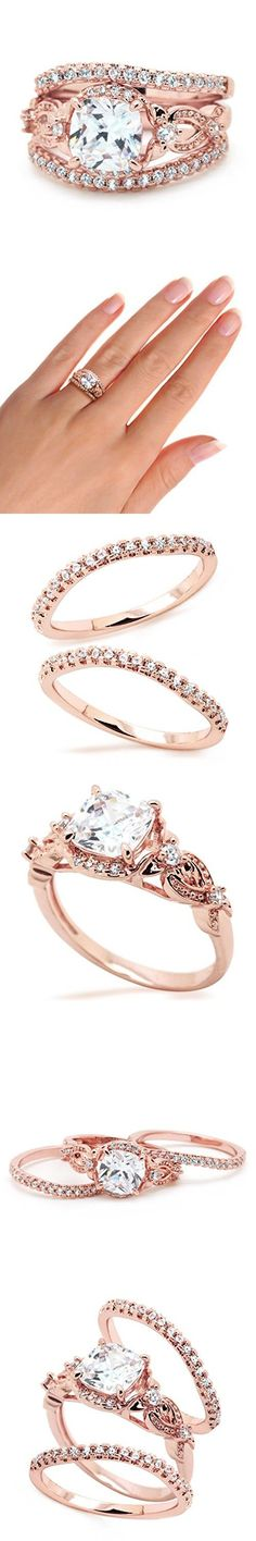 Sparkly Bride Cushio  Sparkly Bride Cushion CZ Flower Side Stone Rose Gold Plated 3 piece Wave Band Wedding Ring Set size 9