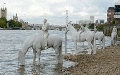The horse sculptures designed to be seen during low tides