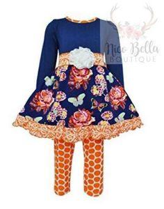 cebce67f38c Ann Loren AnnLoren Girls Boutique Autumn Dress and Polka Dot Legging Outfit