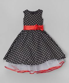 Look what I found on #zulily! Black Polka Dot A-Line Dress - Infant, Toddler & Girls by Kid Fashion #zulilyfinds