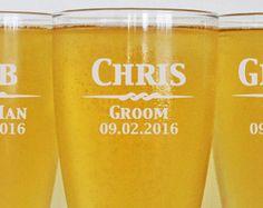 4 - Groomsmen Pilsner Glasses, Personalized Beer Glass, Engraved Glasses, Beer Mug, Wedding Party Gifts, Gifts for Groomsmen, Groom Gift