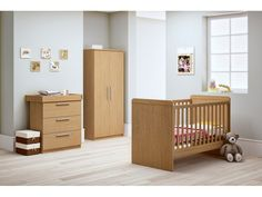 Banbury Nursery Furniture Set in Oak - Cot Bed Wardrobe and Changing Unit