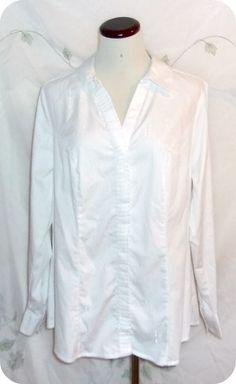 LANE BRYANT Top Size 14 Womens White Silver Metallic Button Down Long Sleeve  #LaneBryant #ButtonDownShirt #CareerCasual