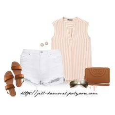 Striped Sleeveless Blouse + White Shorts by jill-hammel on Polyvore featuring Violeta by Mango, Aéropostale, Tory Burch, Jade Jagger, Kate Spade and Ray-Ban