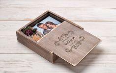 Álbum de fotos de boda foto cuadro grabado madera caja foto