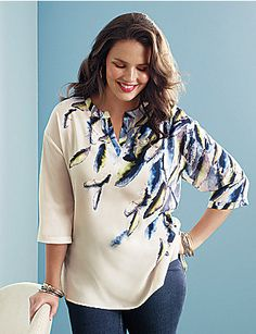4961f4f5a41 Feather print tunic by Lane Bryant Mature Women Fashion