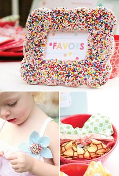 """Quite possibly the most AMAZING Birthday Party theme I have EVER seen!!! """"sprinkled with love"""" bow ties & barrettes favors. Sprinkle plants (spray bottles), confetti balloons... so many cute ideas."""