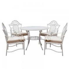5 Piece Lotus Iron Outdoor Dining Table & Chair Set by Cast Iron Outdoor. Get it now or find more Outdoor Dining Sets at Temple & Webster. Wrought Iron Outdoor Furniture, Wrought Iron Patio Chairs, Iron Furniture, Country Furniture, Industrial Furniture, Furniture Makeover, Antique Furniture, Furniture Ideas, Cheap Table And Chairs