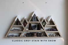 wall Shelves Triangle - Triangle Altar Shelf with moon phases. Altar, Essential Oil Storage, Essential Oils, Mountain Shelf, Crystal Shelves, Creation Deco, My New Room, Home Projects, Woodworking Projects