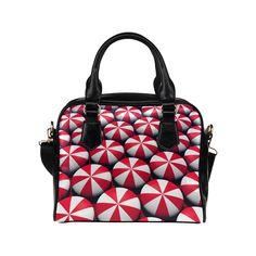 Peppermint Shoulder Handbag (Model 1634) #peppermint #candies #candy #minty #redandwhite #pattern #treats #hardcandy #bag #forher #purse #handbag