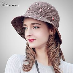 Summer Coffee Hat For Women Dress Handmade Madagascar Raffia Straw Hat Beach Sun Cap With Flower Decoration Great, huh? #shop #beauty #Woman's fashion #Products #Hat