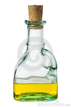 Olive oil bottle with cork isolated on white background.