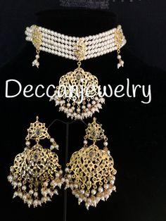 Meeti jadau choker in pearls and polki - hyderabadi jewellery Traditional Indian Jewellery, Indian Jewelry, Pearl Choker, Crystal Necklace, Neck Piece, Simple Jewelry, Jewelry Accessories, Jewelry Ideas, Wedding Jewelry