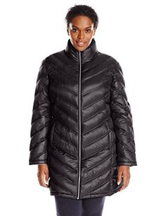 Women's Plus-Size Chevron-Quilted Packable Down Coat.More info could be found at the image url.(This is an Amazon affiliate link and I receive a commission for the sales)