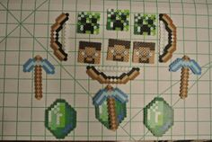 Minecraft Party Favors 15 Pieces perler beads by DabblePabbleShop