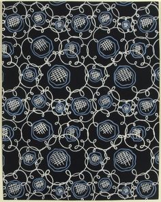 Fabric Design with Blue Flowers |  Attributed to Paul Poiret (French, 1879-1944) | Gouache and stencil over graphite | France, ca. 1918-1925