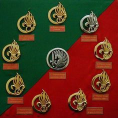 French Foreign Legion Regimental Badges/Insignia,s. Uniform Insignia, Military Insignia, Military Art, Military History, French Foreign Legion, French Army, Special Forces, Armed Forces, Badge